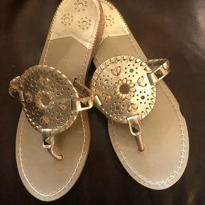 Jack Rogers matte light gold leather sandals!